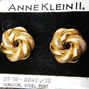 ANNE KLEIN Earrings gold tone for pierced ears